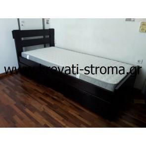 Κρεβάτι βέγγε από μασίφ ξύλο μονό και υπέρδιπλο με μηχανισμό ανύψωσης βοηθητικού συρταρωτού κρεβατιού
