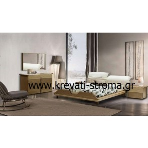 Κρεβατοκάμαρα ιταλικού design σε ξύλο κρακ σε πολύ μοντέρνο ύφος με μαξιλάρες ανάκλησης στην πλάτη κομπλέ σετ 5 τεμαχίων