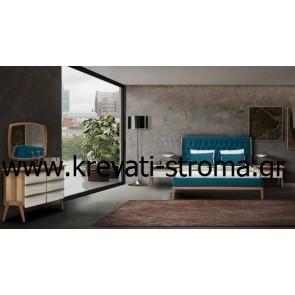 Κρεβατοκάμαρα 70's avant garde κομπλέ σετ (κρεβάτι,2 κομοδίνα,σιφονιέρα,καθρέφτης) με ξύλο και ύφασμα καπιτονέ
