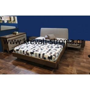 Κρεβατοκάμαρα ξύλινη δρυς με ντυτό προσκέφαλο με ύφασμα με βαφή ανελίνη νερού με λάκα