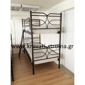 Δύο μονά ξεχωριστά κρεβάτια σε κουκέτα διόροφη