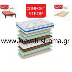 Στρώμα comfort strom caricia μονό ανατομικό με δώρο μεταλλικό-σιδερένιο κρεβάτι μονό και σανίδες στήριξης