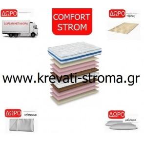 Στρώμα comfort strom royal με ανεξάρτητα ελατήρια pocket μονό 090χ190 ή 090χ200 με δώρο μεταφορά,σανίδες,μαξιλάρι,επίστρωμα