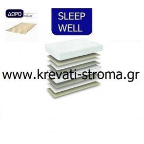 Στρώμα ανατομικό sleep well must μονό σε διάσταση 90x190 ή 90x200 kai δώρο τάβλες στήριξης