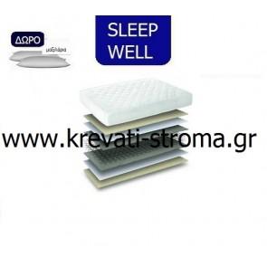 Στρώμα 26 πόντους sleep well rock μονό 090χ190 ή 090χ200 και δώρο μαξιλάρι