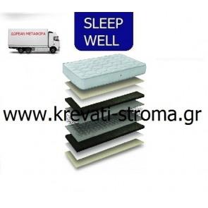 Στρώμα ορθοπεδικό sleep well relax υπερ διπλό 160χ200 με δωρεάν μεταφορά.ΕΤΟΙΜΟΠΑΡΑΔΟΤΟ-ΑΜΕΣΗ ΠΑΡΑΛΑΒΗ