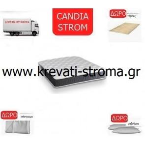 Στρώμα ορθοπεδικό ''new'' candia strom-ventus μονό 090χ190 ή 090χ200 με δώρο μεταφορά,μαξιλάρι,επίστρωμα και σανίδες